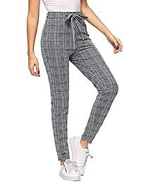 SweatyRocks Pantalones Largos Casuales a Cuadros con Cintura Alta y Bolsillos para Mujer, Grey#1, L