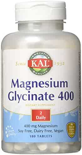 KAL Magnesium Glycinate 400   Vegan, Chelated, Non-GMO, Soy, Dairy, and Gluten Free   90 Servings