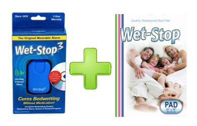 Wet-Stop3 Kit: Bedwetting Enuresis Alarm with Waterproof Bed Pad for Boys and Girls, Curing Bedwetting (blue)
