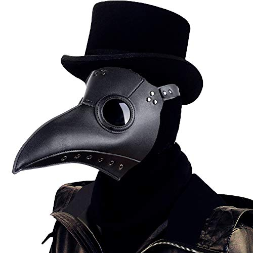 Lubber Plague Doctor Mask Gothic Cosplay Retro Steampunk Props Long Nose Bird Beak for Halloween Costume(Black)
