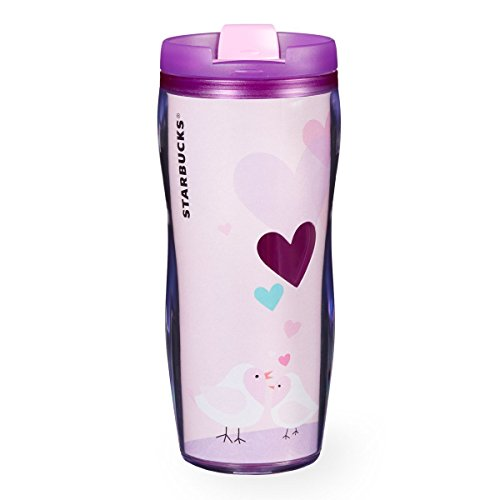Starbucks Valentine Day Collection Acrylic Double-walled Tumbler Lavender Pink Sweetheart Birds 12 Oz 2016 (Day Valentines Tumbler Starbucks)