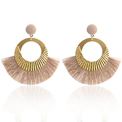 5mm Medium Earrings Hoop (Tassel Earrings for Women, Staron Fashion Openwork Style Big Circle Crystal Tassel Dangle Stud Earrings Elegant Eardrop (Khaki❤️))
