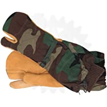 Trigger Finger Mitten Gloves w/ Wool Liners - Woodland Camo - Military Surplus