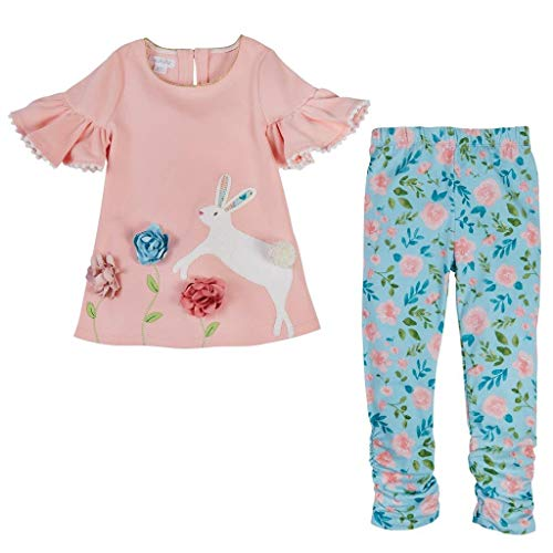 Mud Pie Baby Girl's Bunny Tunic and Leggings Set (Infant/Toddler) Pink 3T
