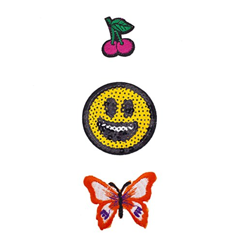 Lux Accessories Cherry, Emoji Face and Butterfly Novelty Iron Patches Set (Womens Scary Cherry Jacket)