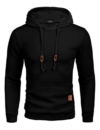 COOFANDY Men's Sweatshirt Hipster Gym Long Sleeve Drawstring Hooded Plaid Jacquard Pullover Hoodies (XX-Large, Black)