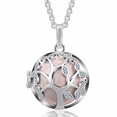 EUDORA Tree of Life 20mm Czech Rhinestuds Harmony Ball Pendant Chime Necklace Pregnantcy Gift,30