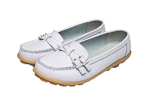 Wicky LS Ladies Work Comfort Leather Moccasins Loafer Flats Peas Shoes Style2 White
