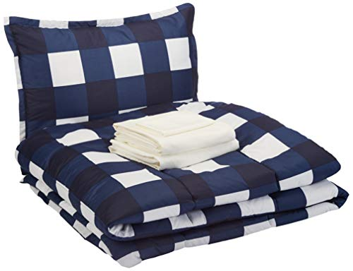 AmazonBasics Bed-in-a-Bag - Soft, Easy-Wash Microfiber - 6-Piece Twin/Twin XL, Navy Oversized Gingham