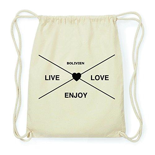JOllify BOLIVIEN Hipster Turnbeutel Tasche Rucksack aus Baumwolle - Farbe: natur Design: Hipster Kreuz