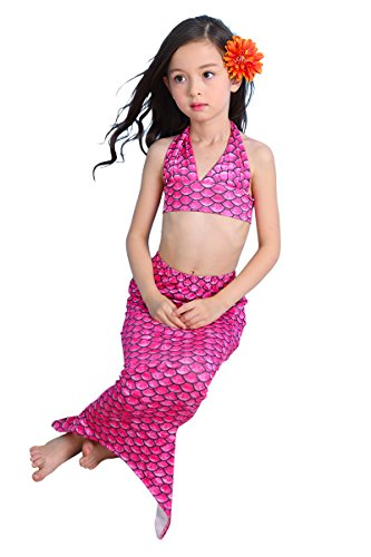 [YMING Girls Fish Tail Tankini Marmaid Swimwear Costume Pink 6-7 Years] (Kiddie Costume For Sale)