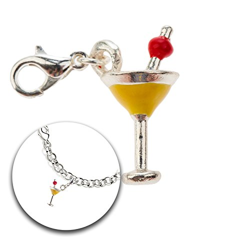 Fashion and Jewelry Accessory of Trendy Silver Colored Charm Clip On Pendant for Armbands Bracelets Bangles With Martini Cocktail Glass ()