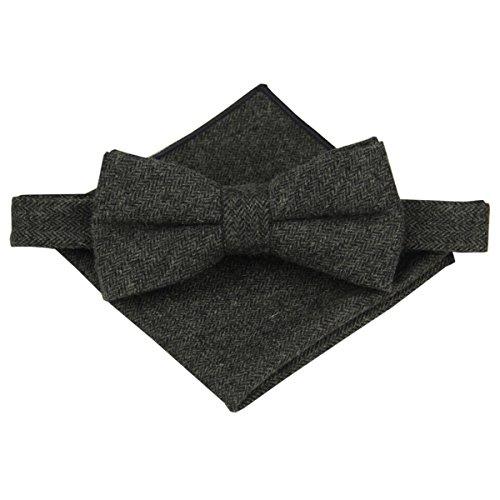 Charcoal Wool Herringbone - Mens Charm Wool Herringbone Bowtie with Matching Pocket Square Set (Charcoal)