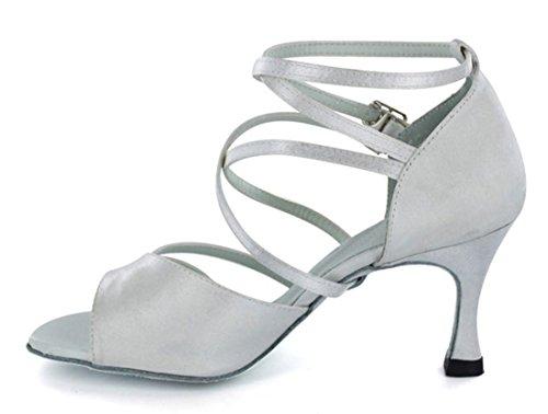 Tda Kvinners Ankel Strap Peep Toe Mesh Satin Salsa Tango Ballroom Latin Moderne Dans Bryllup Sko Satin Hvit