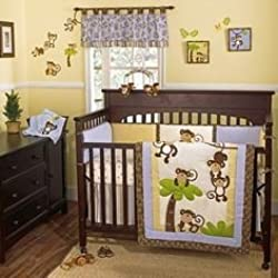 Monkey Time Nursery Collection 4 Piece Crib Set for boys