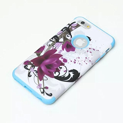 iPhone 6S Plus/iPhone 6Plus Schutzhülle, urvoix (TM) Premium Schutzhülle Lotus Flower Cover, Dual Layer + stoßdämpfendem Hard Bumper Cases für iPhone 6splus iPhone 6Plus–Blau