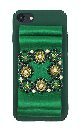 Designer logo luxury elegant fashion ribbon rihnestones shiny fabric glitter Prom Wedding Case for iPhone 7 (4.7) Green