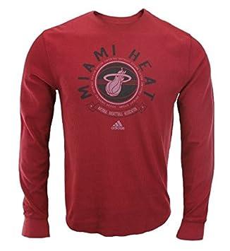 Adidas Miami Heat de la NBA para Hombre Off la Banco Camiseta de Manga Larga,