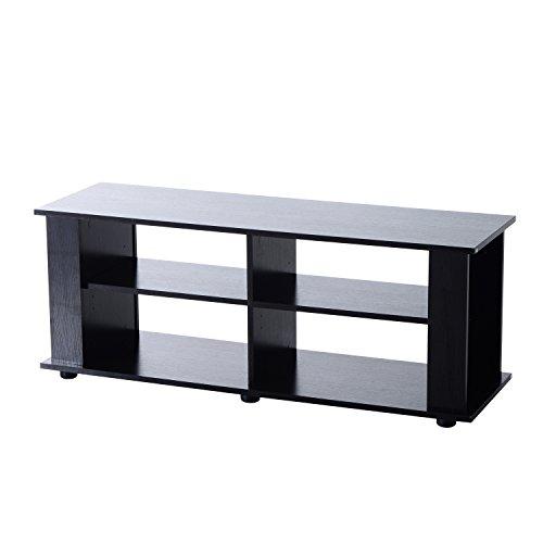 HomCom 58″ Modern Open Shelf TV Stand – Black