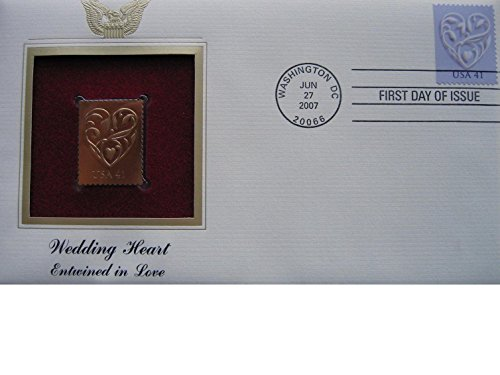 - 2007 Wedding Heart Entwined in Love Replica FDC FDI 22kt Gold Golden Cover Stamp