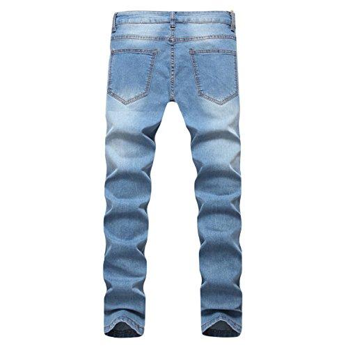 Hombre Hole Stretch Jeans Rectos Ocio Slim Fit Skinny Jeans Pantalones De  Algodón chic 004b1007a58