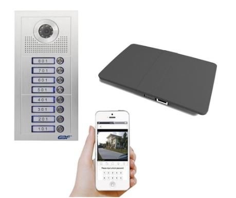 Intercom Door Unit - GBF Smart Video Intercom Doorbell System for Multi-unit Apartment Building With Wifi, Remote Access By Android and IOS system (5 Unit Apartment)