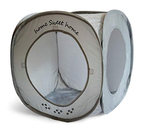 Feline Ruff Home Sweet Home Pop Up Cat Cube. A Collapsible Indoor Cat House. Covered Pet Bed Hideaway Cave for Dogs and Other Pets Too. (Pop Up Cube- Gray)