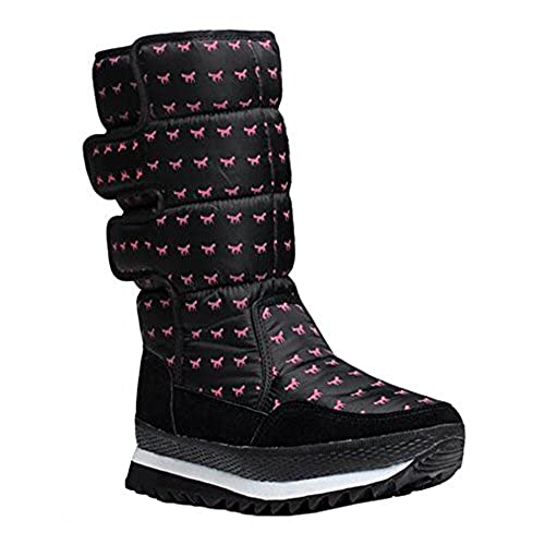 Women's Stylish Waterproof Fully Fur Lined Hook-and-loop Mid Calf Low Heel Winter Warm Snow Boots