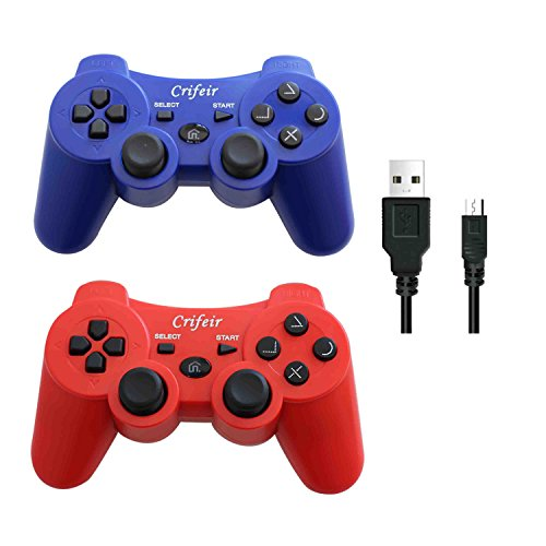 (Crifeir 2 Pack Wireless Controller for Playstation 3 PS3 with Charger Cable(Red and Blue))