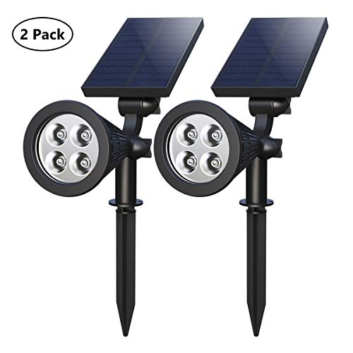 Solar Spotlights,4-LED Solar Landscape Lights 180 ° Adjustable Waterproof Outdoor Security Lighting 2-in-1 Solar Spotlight Auto On/Off for Backyard Driveway Patio Gardens Lawn Pool (2 Pack) (Review Spotlights Garden Solar)