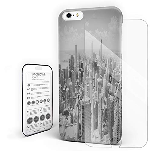 Chicago'S Urban Landscape Black and White Phone Case for iPhone 6 Plus/iPhone 6S Plus Stylish Design Slim Anti-Fall Hard Plastic Phone Cover with Tempered Gglass Screen -