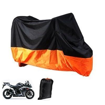 XXL Motorcycle Motorbike Waterproof Dustproof UV Protective Breathable Cover Outdoor Oragen/Black w/ Carry Bag