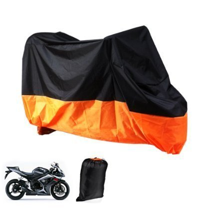 XXL Motorcycle Motorbike Waterproof Dustproof UV Protective Breathable Cover Outdoor Oragen/Black w/ Carry Bag