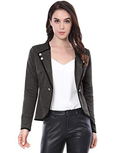 Elegante Blazer Modern Grau Cappotto Bavero Breasted Lunga Manica Chic Corto Fit Donna Double Stile Tailleur Slim Casual Autunno Coat Giacca Da qO0wtwAR