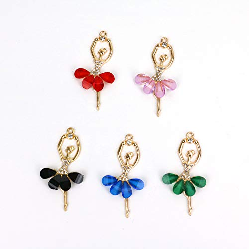 JETEHO 10Pcs Rhinestone Cute Ballet Dancer for DIY Necklace Pendant Charm Jewelry Making, 5 Colors ()