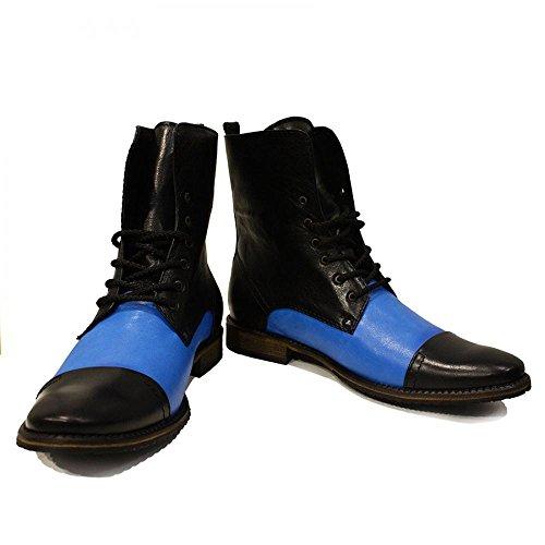 Modello Sila - Cuero Italiano Hecho A Mano Hombre Piel Azul Botas Altas - Cuero Cuero suave - Encaje