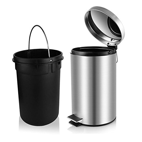 l Trash Can, Round Small Trash Can with Soft Close Lid and Removable Inner Wastebasket for Bathroom Bedroom Office, Fingerprint Resistance, 1.3 Gallon/5 Liter ()