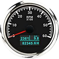 Pestelle 85Mm 3 In1 Marine Multi-Function Tachometer 0-6000 RPM Tachometer with Water Temperature and Oil Pressure Black
