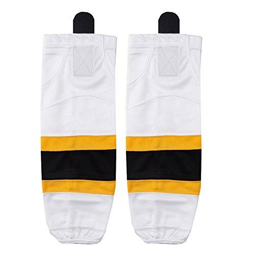 Youth Ice Hockey Socks, COLDINDOOR Kids Boys Girls Shin Guards Mesh Velcro Ice Hockey Skate Socks White XS (Ice Pants Youth Hockey)