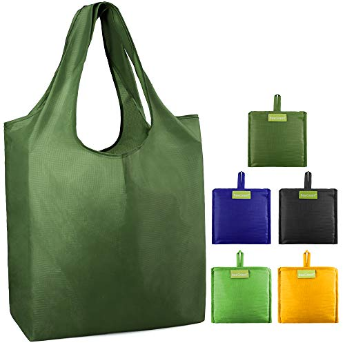 Reusable Grocery Bags 5 Pack Bulk Shopping Tote Foldable into Attached Pouch Ripstop Polyester Reusable Bags Machine Washable Durable and Lightweight Moss,Green, Royal, Black, Yellow