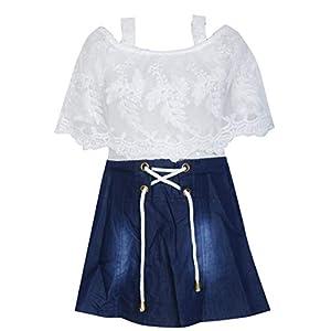 BENKILS Cute Fashion Baby Girl's Denim Skirt Dresses for White and Blue