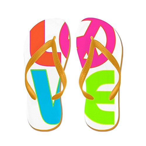 (Royal Lion Men's Neon Love with Peace Symbol Sign Orange Rubber Flip Flops Sandals 8-10)