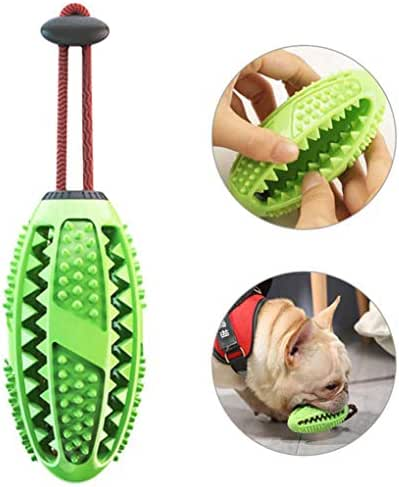 LouKang Dog Toothbrush Chewing Ball Safe and Non-Toxic 2019 Upgraded Puppy Dog Teeth Cleaning Ball Rubber Dental Toothbrush Toys for Dog (Green)