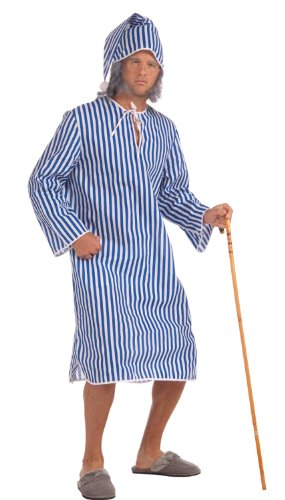 Victorian Era Mens Costumes - Forum Novelties Men's Scrooge Costume Nightshirt, Blue/White, Standard