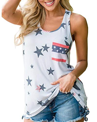 Chuanqi Womens American Flag Camo Tank Tops Summer Loose Sexy Sleeveless Stripes Patriotic T Shirts