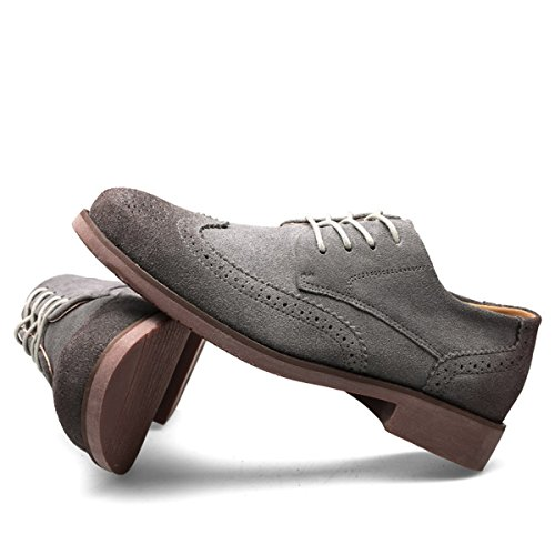 Minishion Mens Lace-up Mode Wingtip Oxfords Daim Affaires Robe Chaussures Gris