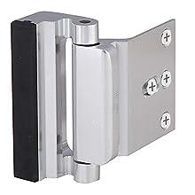 Home Security Door Lock, Child Proof Reinforcement Lock with 3'' Stainless Steel Screws Door Latch for Inward Swinging Door, Double Door Security Protection for Your Home, Silver