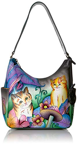 Anuschka Women's Hobo Handbag | Genuine Leather | Cats in Wonderland