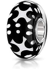 Materia cristal de Murano Bead circunscripción diseño blanco y negro - de plata de{925} plata de ley - para abalorios pulseras & cadenas #138