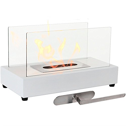 Sunnydaze White El Fuego Ventless Tabletop Bio Ethanol (Portable Ethanol Fireplace)